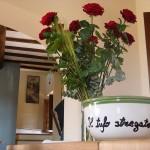 rose sul tavolo tufo stregato
