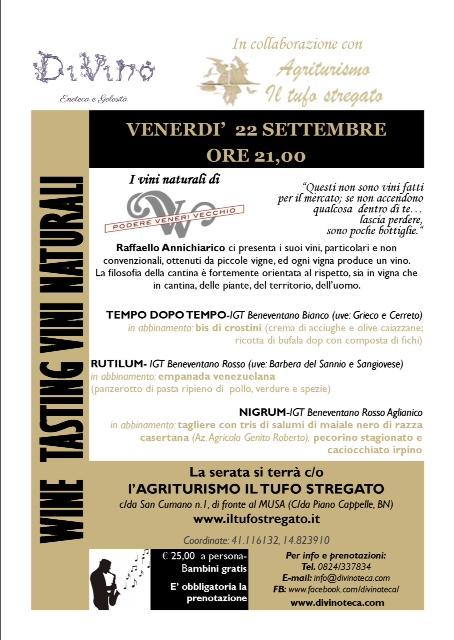 Locandina evento degustazione Vini di poderi Veneri vecchio